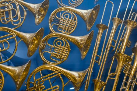 Background of repeating brass instruments. French horns, trumbets 写真素材 - 132067416