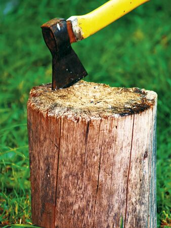 yellow ax stuck in a stump on a background of green grass