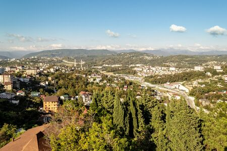 Beautiful landscape with city in the mountains Фото со стока - 135333698