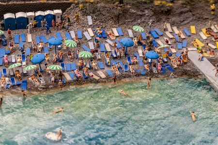 Top view of beautiful beach. miniature model