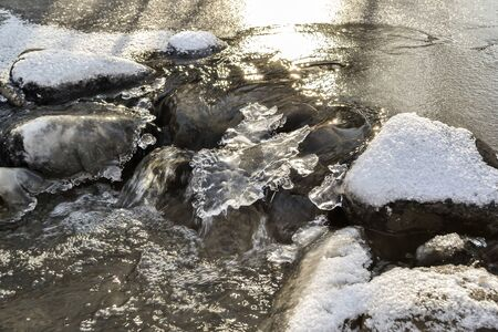 small river begins to freeze from the cold