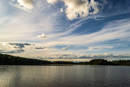 Blue sky with clouds over beautiful lake