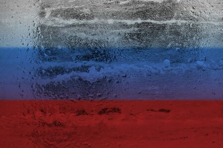 A icy abstract background in the colors of the Russian flag