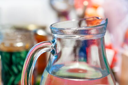 still life with glass decanter with water Фото со стока - 138093608