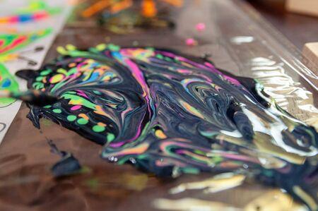 a lot of mixed different acrylic paints Фото со стока - 138092977