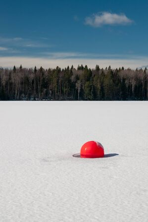 a buoy frozen in the lake's ice. winter sunny landscape