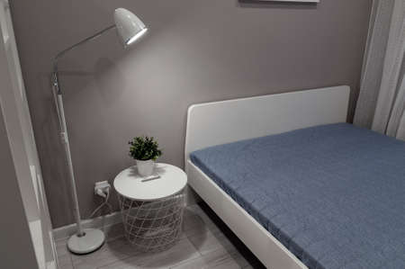 Modern interior bedroom with minimalist design. Bedroom in hotel or appartment