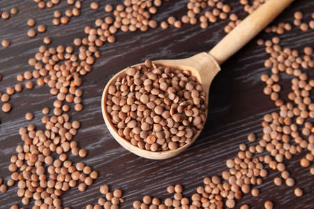 wooden spoon with lentil beans on backgrounds with beans Фото со стока