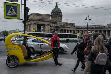 pedicab on the square in front of kazan cathedral