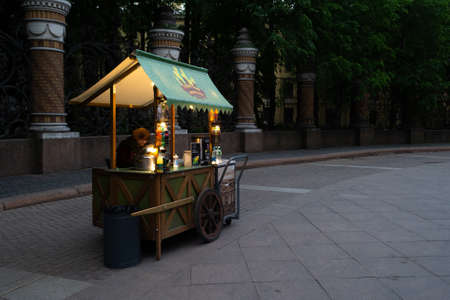 cart with food in the square in front of the Church of the Savior on Blood