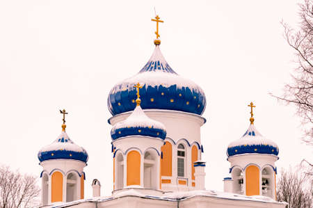 domes of the Orthodox church on a winter day