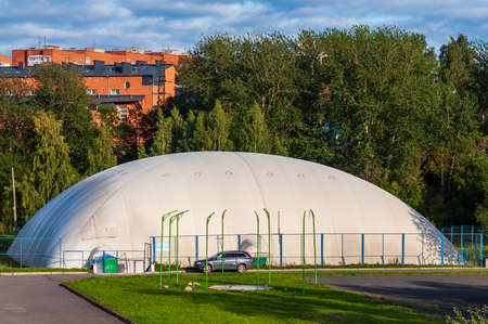 Petrozavodsk, Russia - 19 August 2019. Air-supported dome used as a sports and recreation venue