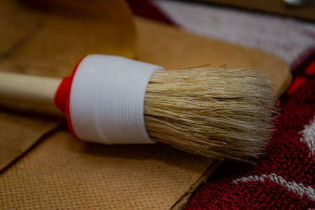close-up of a large round bristle brush. High quality photo