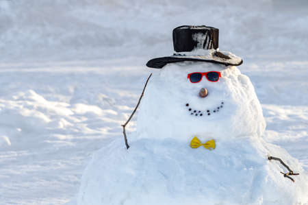 funny snowman in hat and sunglasses. High quality photo