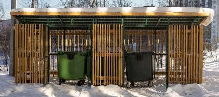 area for trash containers. High quality photo Фото со стока