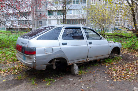 car Lada with the wheels removed