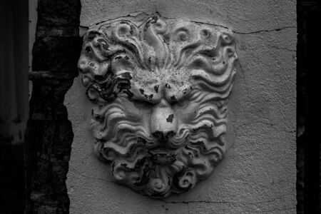 old black and white bas-relief sculptural image of a lion Imagens