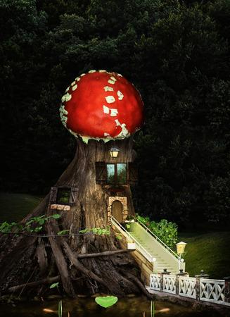 Casa de árbol de fantasía en bosque profundo. Un collage infantil sobre la vida de los residentes del bosque de cuento de hadas con una casa de madera vieja con hermosas ventanas, una hermosa escalera y un brillante techo de amanita.