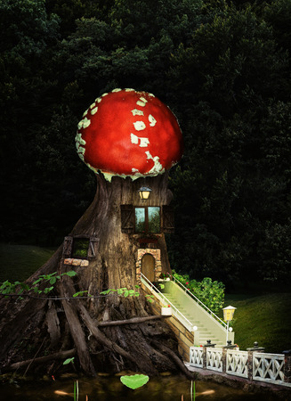 Fantasy tree house in deep forest.A children's collage about the life of fairy-tale forest residents with a house made of old wood with beautiful windows, a beautiful staircase and a bright amanita roof.