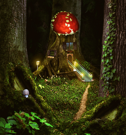 Fairy-tale story with a fantastic magic forest with a house in the middle of trees and moss in a meadow.fairy house , illustration of a fictional situation, in the form collage of photos