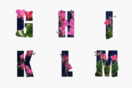 Flower font Alphabet g,h,i,r,l,m made of Real alive flowers with Precious paper cut shape of letter.Collection of brilliant flora font for your unique decoration in spring, summer & many concept idea