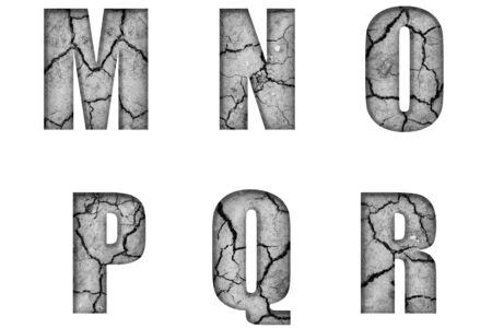 Alphabet letters M N O P Q R from cracked earth texture with volumetric shape and embossing.