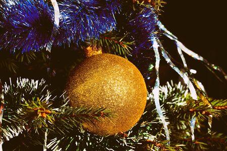 Closeup of Christmas-tree decorations.Christmas background