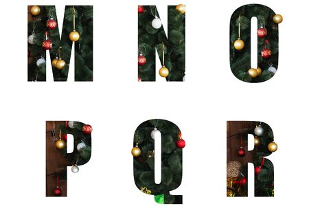 Nice Christmas Alphabet.New year letters of the alphabet m n o p q r.Letters of Christmas tree branches and Christmas toys, balls.Decorative letters for design.