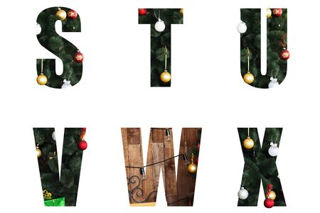 Nice Christmas Alphabet.New year letters of the alphabet s t u v w x.Letters of Christmas tree branches and Christmas toys, balls.Decorative letters for design. Stock Photo