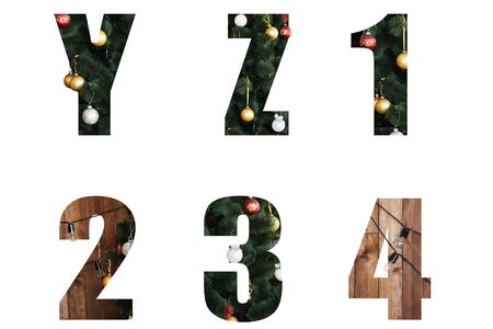 Nice Christmas Alphabet.New year letters of the alphabet y z 1 2 3 4 .Letters and numbers from Christmas tree branches and Christmas toys, balls.Decorative letters for design.