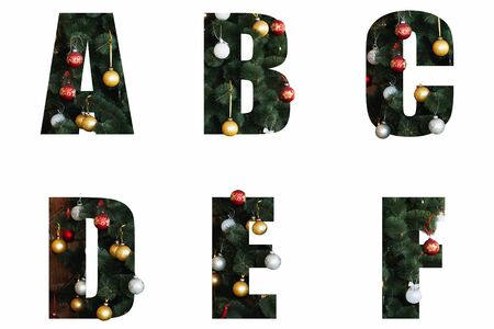 Nice Christmas Alphabet.New year letters of the alphabet a b d and f.Letters of Christmas tree branches and Christmas toys, balls Stock Photo