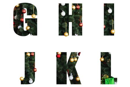 Nice Christmas Alphabet.New year letters of the alphabet ag h i j k l.Letters of Christmas tree branches and Christmas toys, balls.Decorative letters for design.