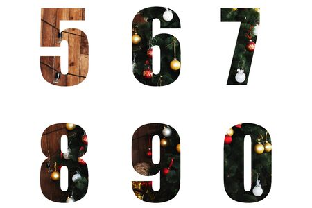 Nice Christmas Alphabet.New year letters of the alphabet 5 6 7 8 9 0. numbers from Christmas tree branches and Christmas toys, balls.Decorative letters for design.