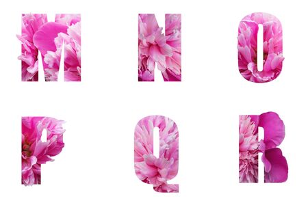 The English alphabet letters M N O P Q R of their pink peony flowers isolated on white.Floral letters for decoration and design