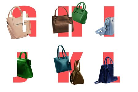 Art letters of the alphabet G H I J K L for text design with inscribed women bags in different colors.DESIGN FONT