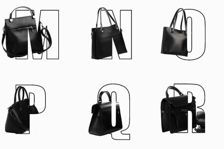 Art letters of the alphabet M N O P Q R for text design with inscribed women bags in different colors.DESIGN FONT