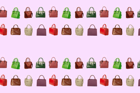 Texture of feminine handbags of different colors isolated on a pink background.seamless pattern of collection women's accessories.