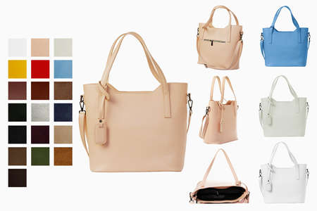 Women's handbag in different color options with eco-leather color options for the catalog.Women's stylish fashion accessories. Leather woman bag on white background.