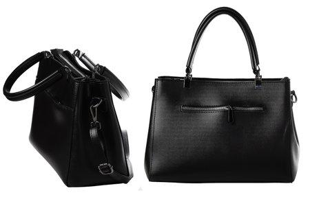Black female bag isolated over white Standard-Bild