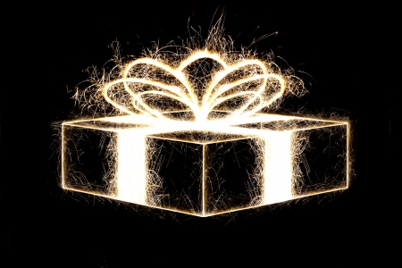 Packed gift by sparkler style with freeze light  photo