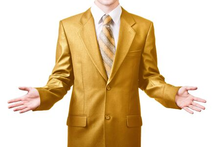 shrugs: Man in golden suit shrugs   offers make a choise