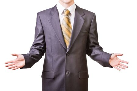 shrugs: Man in black suit shrugs   offers make a choise Stock Photo