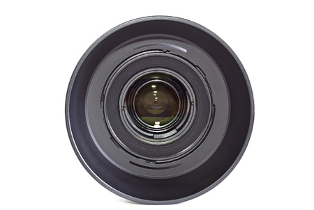 Black camera lens isolated on white background photo