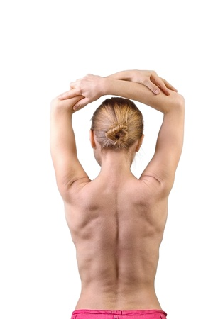 Woman muscular back isolated on white background photo