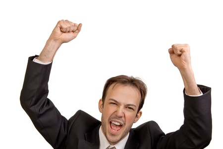 rejoices: Businessman in black suit rejoices in victory