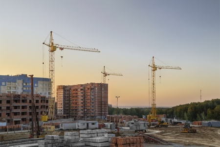 novosibirsk: The construction of new apartment houses in Koltsovo town  Russia, Novosibirsk region  Stock Photo