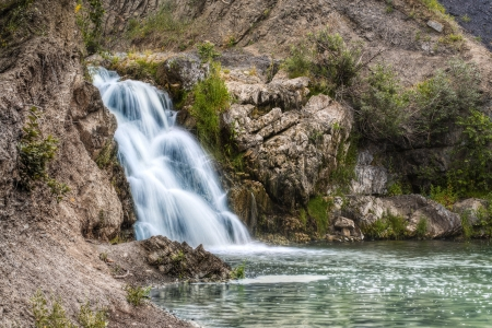 novosibirsk: The waterfall near Belovo village in Novosibirsk region  Russia, Siberia  Stock Photo