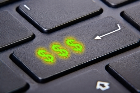 close-up shoot of keyboard with money button photo