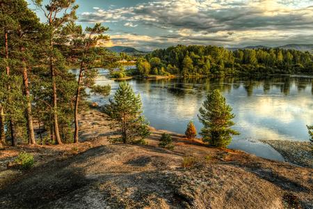 Coastline of Biya river in Turochak village  Russia, Altay Republic