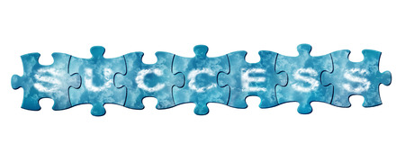 Concept of success - puzzle pieces with letters composes word success photo